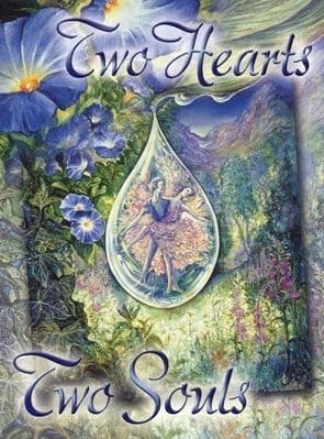 "Love Card ""Two Hearts, Two Souls"" Love Greetings Card by Josephine Wall"