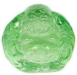 Lucky Laughing Buddha Glass Ornament/Paperweight - Green