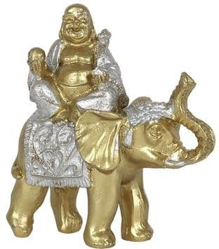 Lucky Laughing Golden Buddha on Elephant