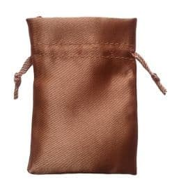 Satin Drawstring Pouch/Bag (small 6x9cm): Fawn