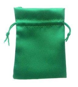 Satin Drawstring Pouch/Bag (small 6x9cm): Green