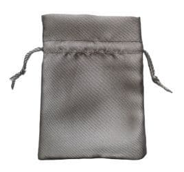 Satin Drawstring Pouch/Bag (small 6x9cm): Silver