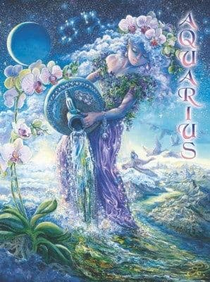 Signs of the Zodiac Greetings Card by Josephine Wall: Aquarius