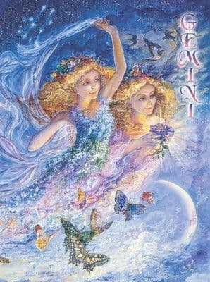 Signs of the Zodiac Greetings Card by Josephine Wall: Gemini