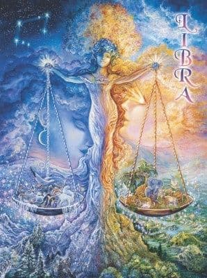 Signs of the Zodiac Greetings Card by Josephine Wall: Libra