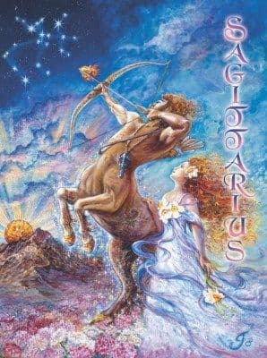 Signs of the Zodiac Greetings Card by Josephine Wall: Sagittarius