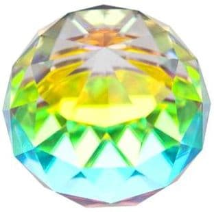 Sphere - Faceted: Small - Iridescent Rainbow Glass (4cm)