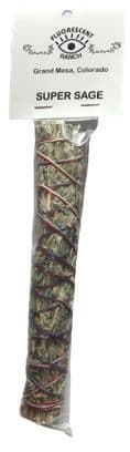"""Supe Sage  (Silver, Velvet,Blue White, Angel & Feather Sage) 7"""" Smudge Stick by """"Fluorescent Ranch"""""""