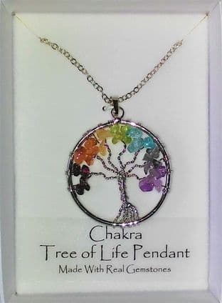 Tree of Life Gemstone Pendant - Chakra