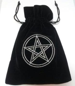 Velvet Tarot Card Bag: Black with Circled Silver Pentacle design