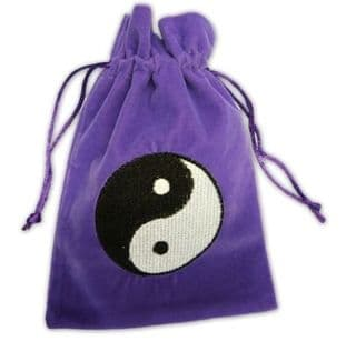 Velvet Tarot Card Bag: Purple with Yin Yang design