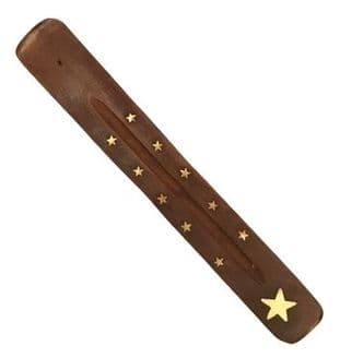 Wooden Incense Holder / Ashcatcher with Brass Inlay - Star