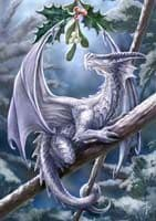 "Yuletide Magic Yule Card ""Snow Dragon"" (AN11) by Anne Stokes"