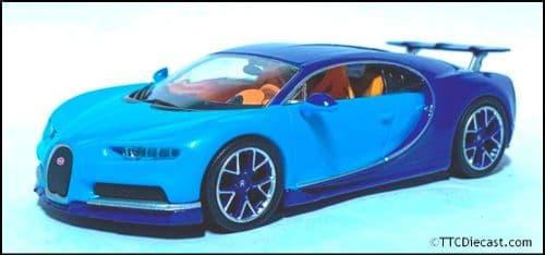 1:43 Scale Diecast - Bugatti Chiron 2016, Two tone blue - Solid plastic case - MAG MK03