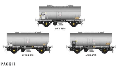 Accurascale ACC1065-PCV-H APCM Cemflo / PCV Powder Wagon - Triple Pack  APCM8501, APCM8506, APCM8517
