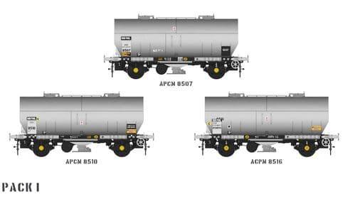 Accurascale ACC1066-PCV-I APCM Cemflo / PCV Powder Wagon - Triple Pack  APCM8507, APCM8510, APCM8516