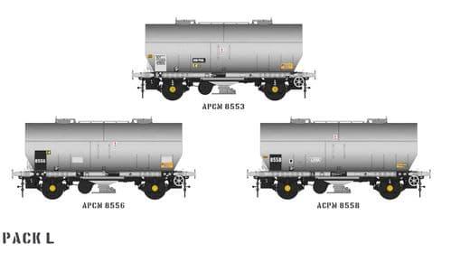 Accurascale ACC1069-PCV-L APCM Cemflo / PCV Powder Wagon - Triple Pack  APCM8553, APCM8556, APCM8558