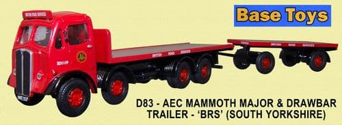 BASE TOYS D83 AEC Mammoth Major Flat with flat trailer - 'BRS' (New Casting) - SOLD OUT