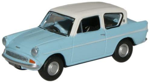 OXFORD 76105007 Ford Anglia - Lt.Blue/Ermine White