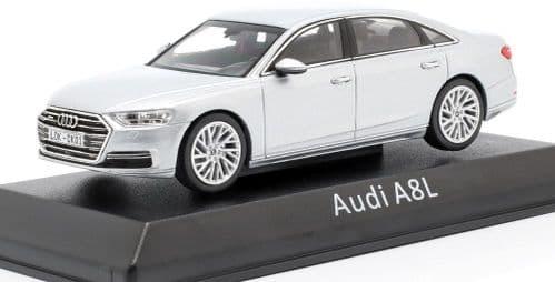 Audi Dealer 143066 - 1:43 Scale Audi A8L silver - Audi Dealer Packaging