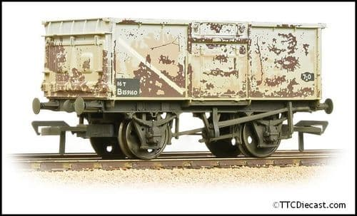 Bachmann 37-250J BR 16T Steel Mineral Wagon BR Grey (Early) - Weathered, OO Gauge