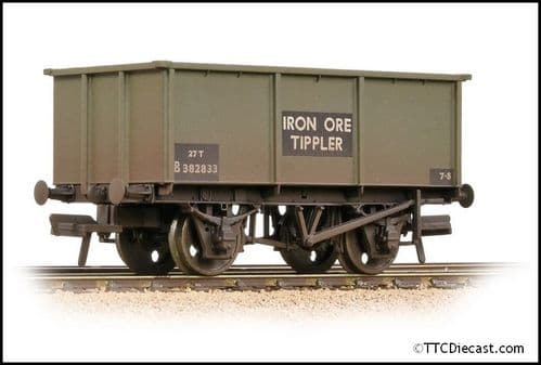 Bachmann 37-275G BR 27T Steel Tippler BR Grey (Early) 'Iron Ore' - Weathered, OO Gauge