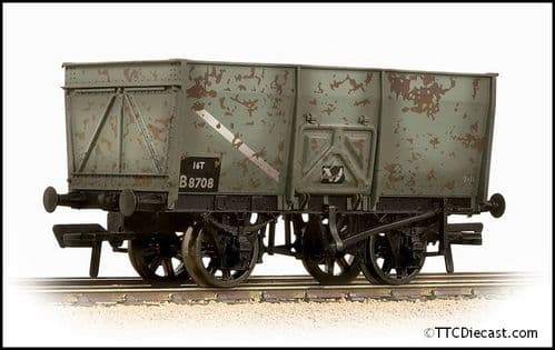 Bachmann 37-425B 16T Steel Slope-Sided Mineral Wagon BR Grey (Early) - Weathered OO Gauge