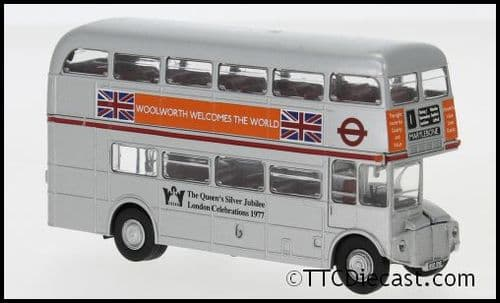 Brekina 61105 AEC Routemaster silver Jubilee, 1977 Woolworths (Route 1 Marylebone) SRM25, 1/87 Scale