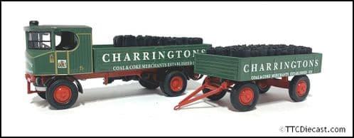 CORGI 80009 Sentinal Dropside Wagon & Trailer - Charringtons - 1/50 Scale * PRE OWNED *