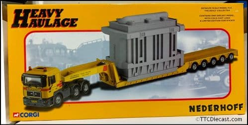CORGI CC12003 MAN 6 x 4 Low Loader with Generator Load 'Nederhoff Crane' 1/50 Scale *PRE OWNED*