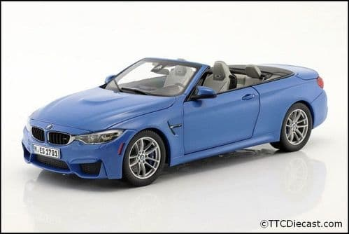 Dealer model BMW 2339612 - BMW M4 (F83) Yas Marina Blue -  1:18 Scale