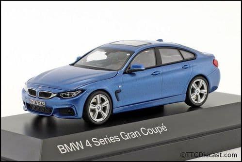 Dealer model BMW 2348792 - BMW 4 Series GC F36 Estroil Blue II -  1:43 Scale