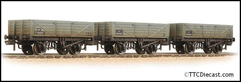 Farish 377-069 5 Plank 3-Wagon Pack BR Grey (Early) - Weathered, N Gauge