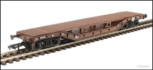 Hattons H4-WW-012 Warwell wagon 50t diamond frame bogies DM748316 BR brown c/w bolster deck LAST ONE