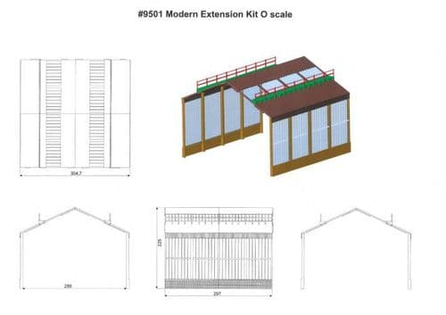 HELJAN 03009501 Modern depot extension (4-bay)  4 x side bays