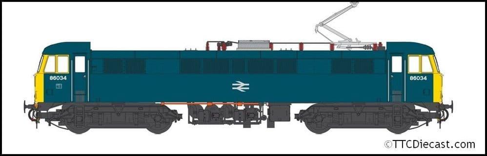 HELJAN 8656 Class 86 BR Rail blue 86034 BR logo, FYE - weathered, OO Gauge
