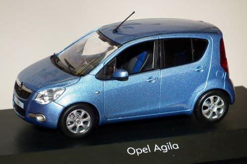 OPE 1088090 -  1:43 SCALE OPEL / VAUXHALL AGILA MK2 2008 - MET. BLUE - DEALER PACKAGE