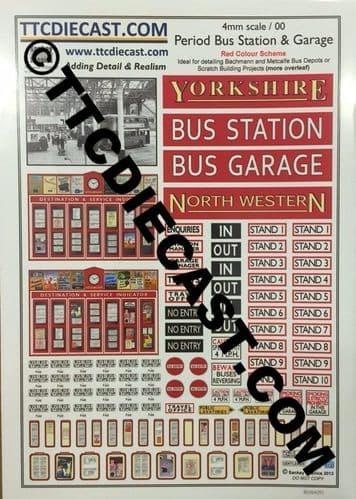 TTCDECALSSTATIONRED - PERIOD BUS STATION & GARAGE DECAL SET RED