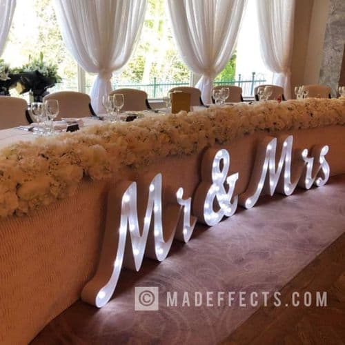 Light up Mr & Mrs letters set joined writing style with cabochone fairground bulbs - 2ft tall