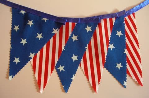 BUNTING - American Style - 'Stars & Stripes' on Blue Ribbon - 3m/10ft or 5m/16ft