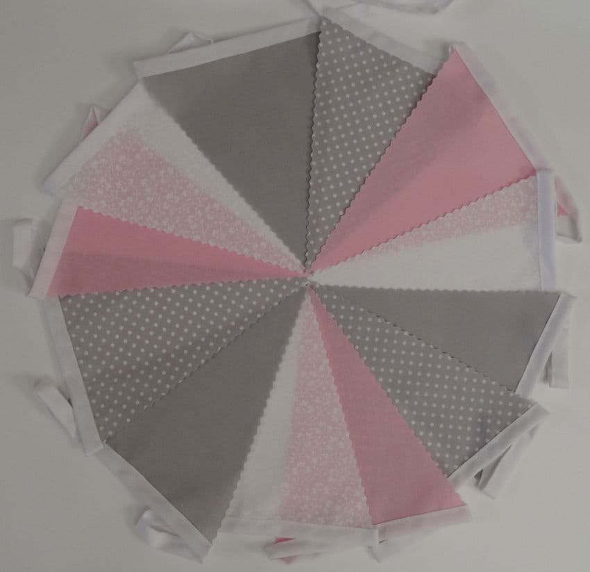 BUNTING Light Grey, Pink & White in Plain, Printed Floral & Spot - 3m/10ft or 5m/16ft
