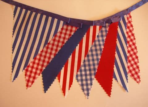 BUNTING Nautical Style - Red White Blue - Plain Stripe Gingham on Blue Ribbon - 3m/10ft or 5m/16ft
