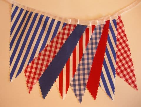 BUNTING Nautical Style - Red White Blue - Plain Stripe Gingham on White Tape - 3m,  5m or 10m