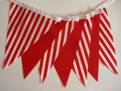BUNTING Plain Red and Red with White Stripes on White Tape - 3m/10ft or 5m/16ft