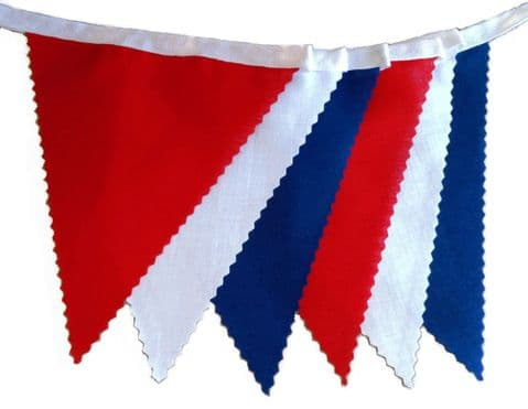 BUNTING Plain Red Blue & White on White Tape - 3m, 5m or 10m