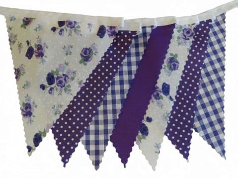 BUNTING - Purple and Lilac Roses, Purple, White, Spot & Gingham - 3m, 5m or 10m - Wedding