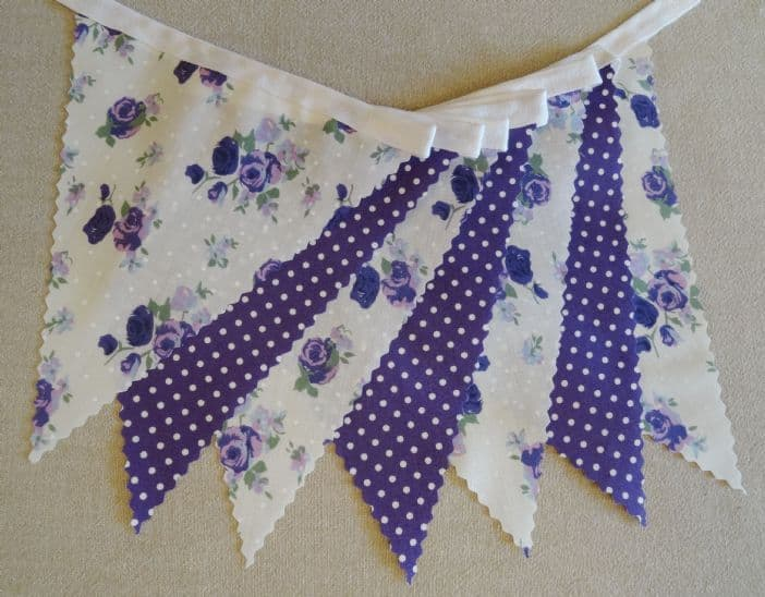 BUNTING - Purple Roses and White Spots - 3m/10ft or 5m/16ft