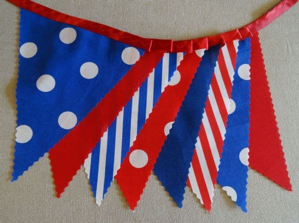 BUNTING Red White Blue - Plain Stripe Spots on Red Ribbon - 3m/10ft or 5m/16ft