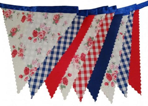 BUNTING Roses Gingham Plain Red Blue on Blue - Vintage Style Birthday & Wedding - 3m, 5m or 10m