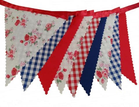 BUNTING - Roses Gingham Plain Red Blue on Red -  Vintage Style Birthday & Wedding - 3m, 5m or 10m